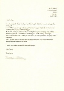 Mortgage thank you letter for Martland Mortgages