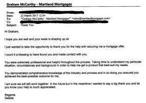 Mortgage testimonial for Martland Mortgages of Southport, Merseyside.