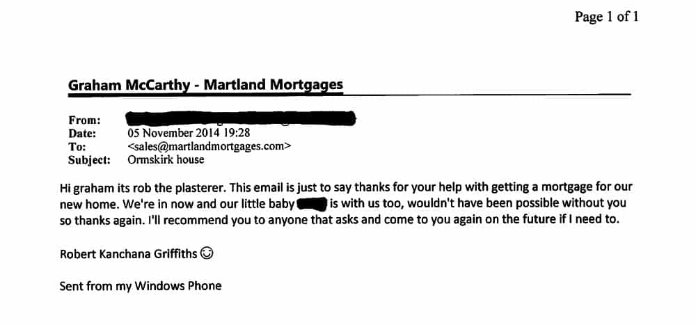 Martland Mortgages going the extra mile for Rob the plasterer in Ormskirk
