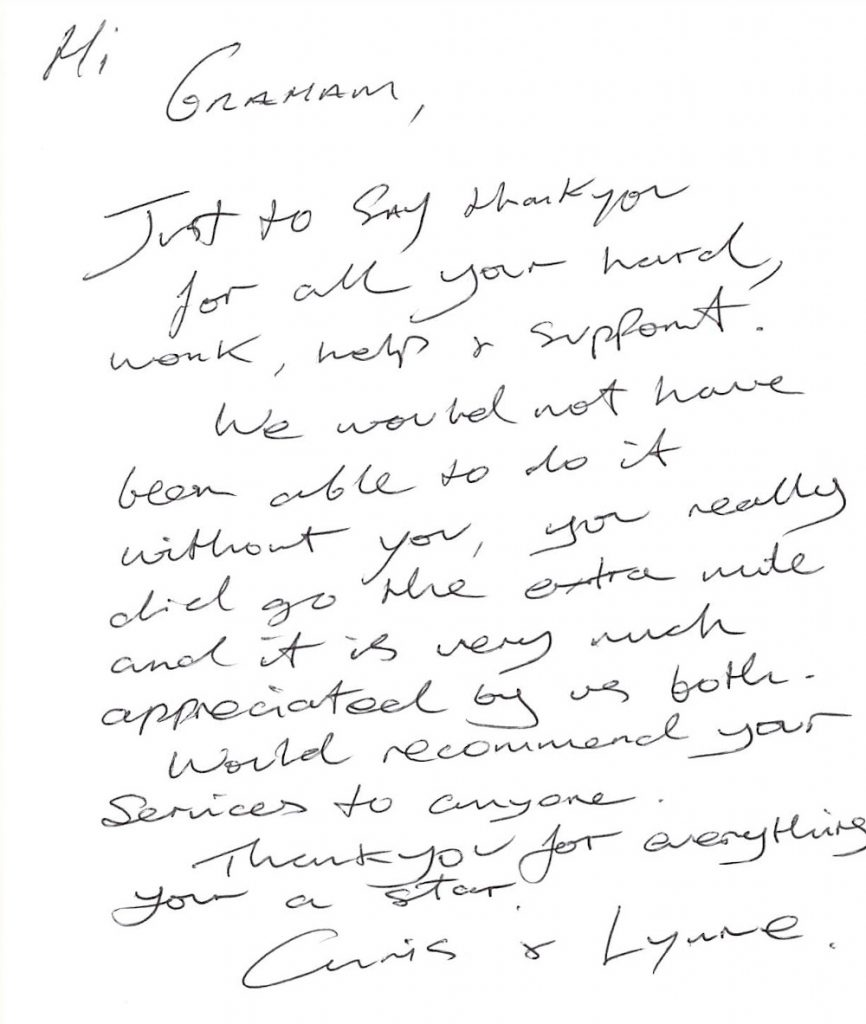 Thank You note to Martland Mortgages